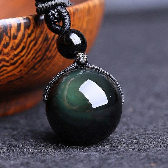 Pendentif Chance Tibet boule Obsidienne Oeil Céleste