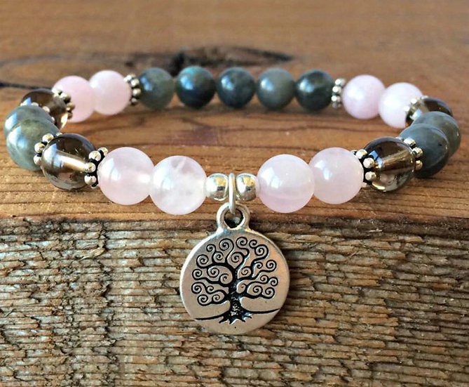 Bracelet Arbre de Vie Labradorite et Quartz Rose