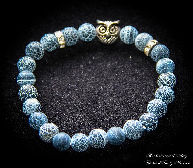 Bracelet Hibou Agate Volcanique
