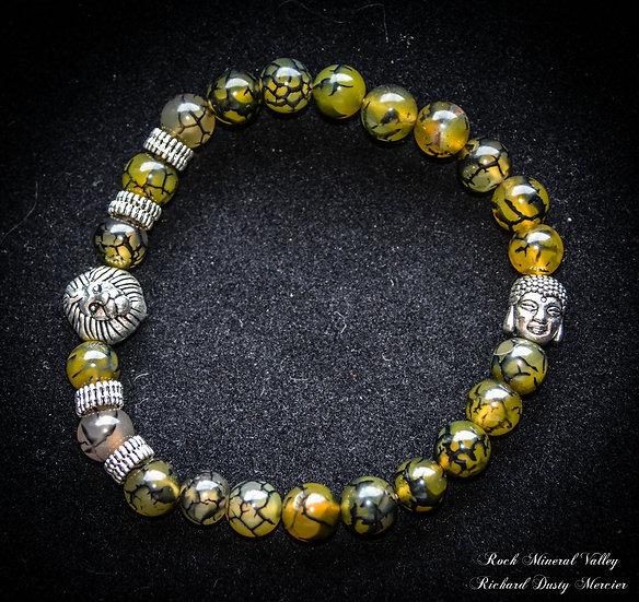 Bracelet Bouddha et Lion imitation Agate verte