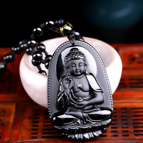 Pendentif Tibet Obsidienne Bouddha