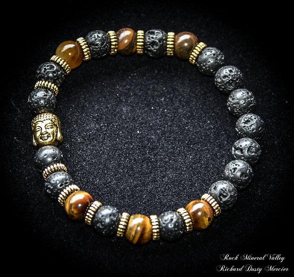 Bracelet Bouddha Volcanique et Oeil de Tigre