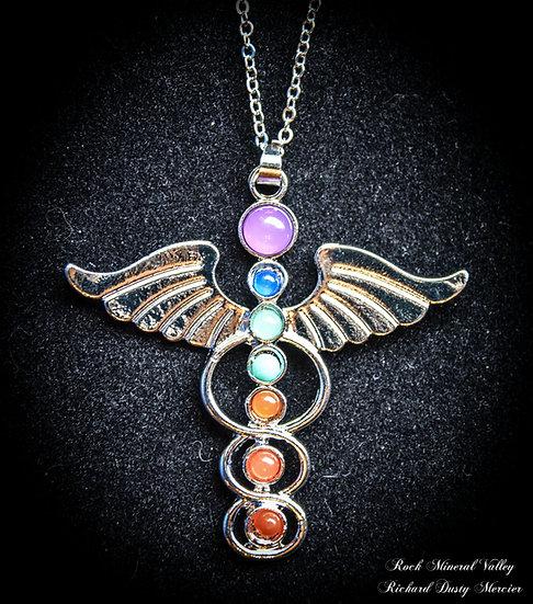 Pendentif 7 chakras Caducée Ange pierres