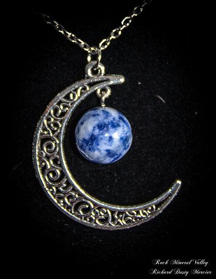 Pendentif Lune Sodalite