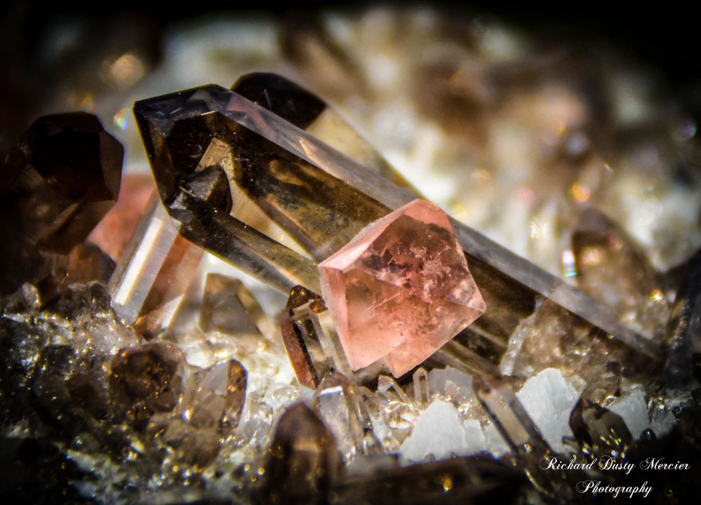 Pink Fluorite on Smoky Quartz