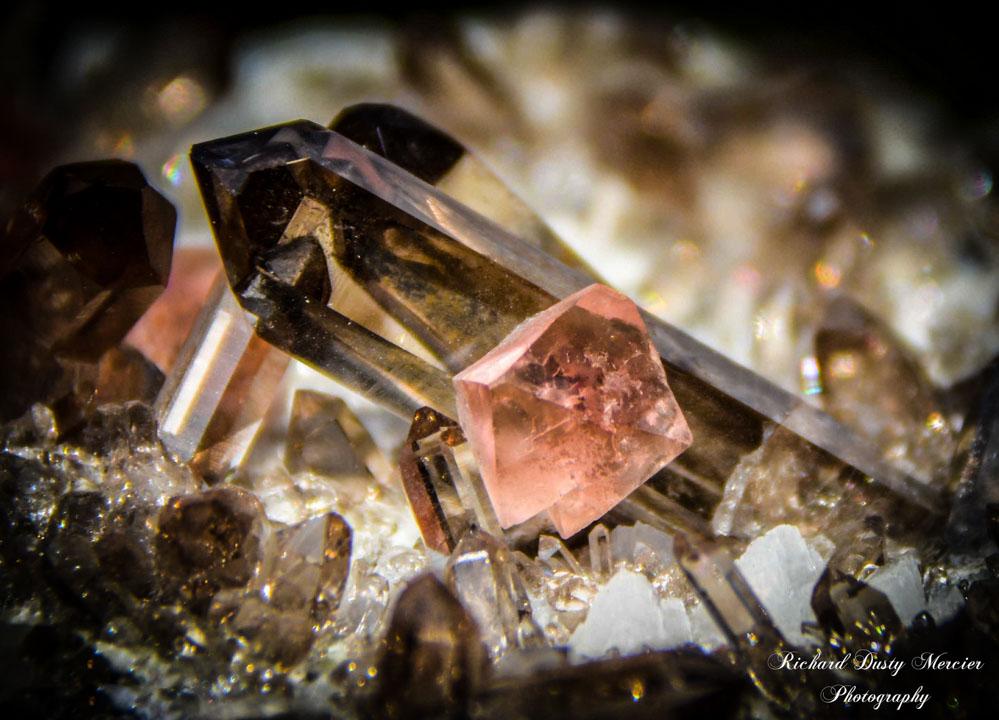 Pink Fluorite on Smoky Quartz