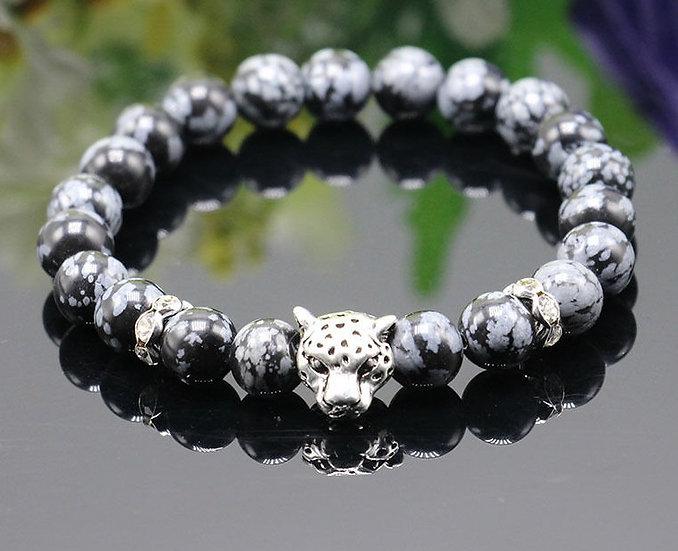 Bracelet Léopard Obsidienne Flocon