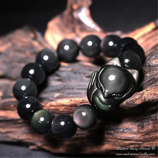 Bracelet Obsidienne Oeil Céléste Renard homme femme