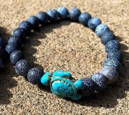 Bracelet Tortue Agate Volcanique