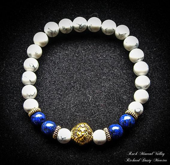 Bracelet Lion Howlite et Lapis-Lazuli