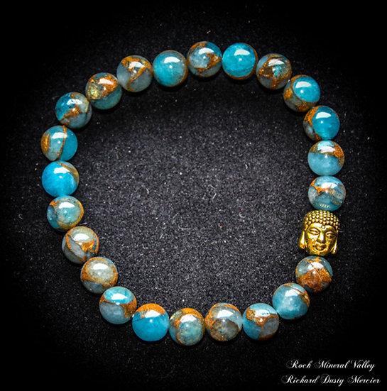Bracelet Bouddha Apatite bleue Pyrite