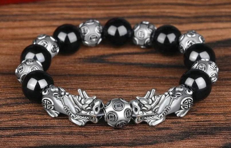 Bracelet Obsidienne Gardiens Chinois homme femme