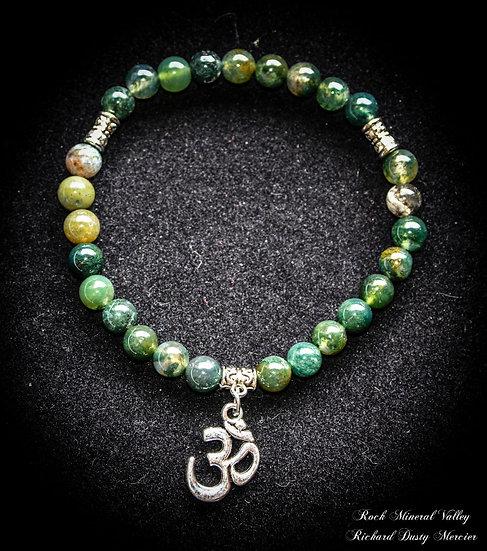 Bracelet OM Yoga Agate Mousse