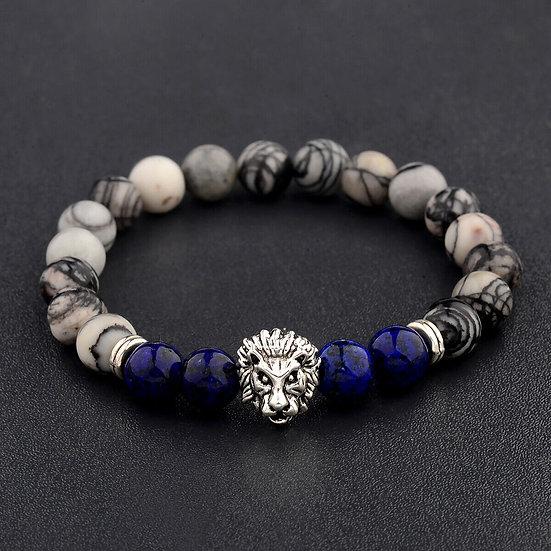 Bracelet Lion Jaspe Picasso et Lapis-Lazuli