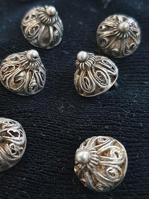 Trachten-Knöpfe / silber/ handgearbeitet / Set 12 Stück / antik