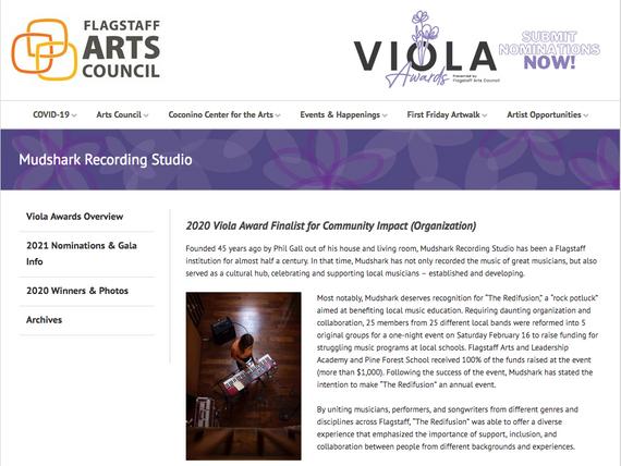 Flagstaff Arts Council, Community Impact Finalist Viola Awards - January 19th, 2020