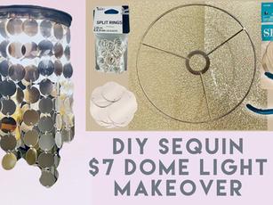 DIY Sequin Chandelier Dome Light Fixture Makeover.