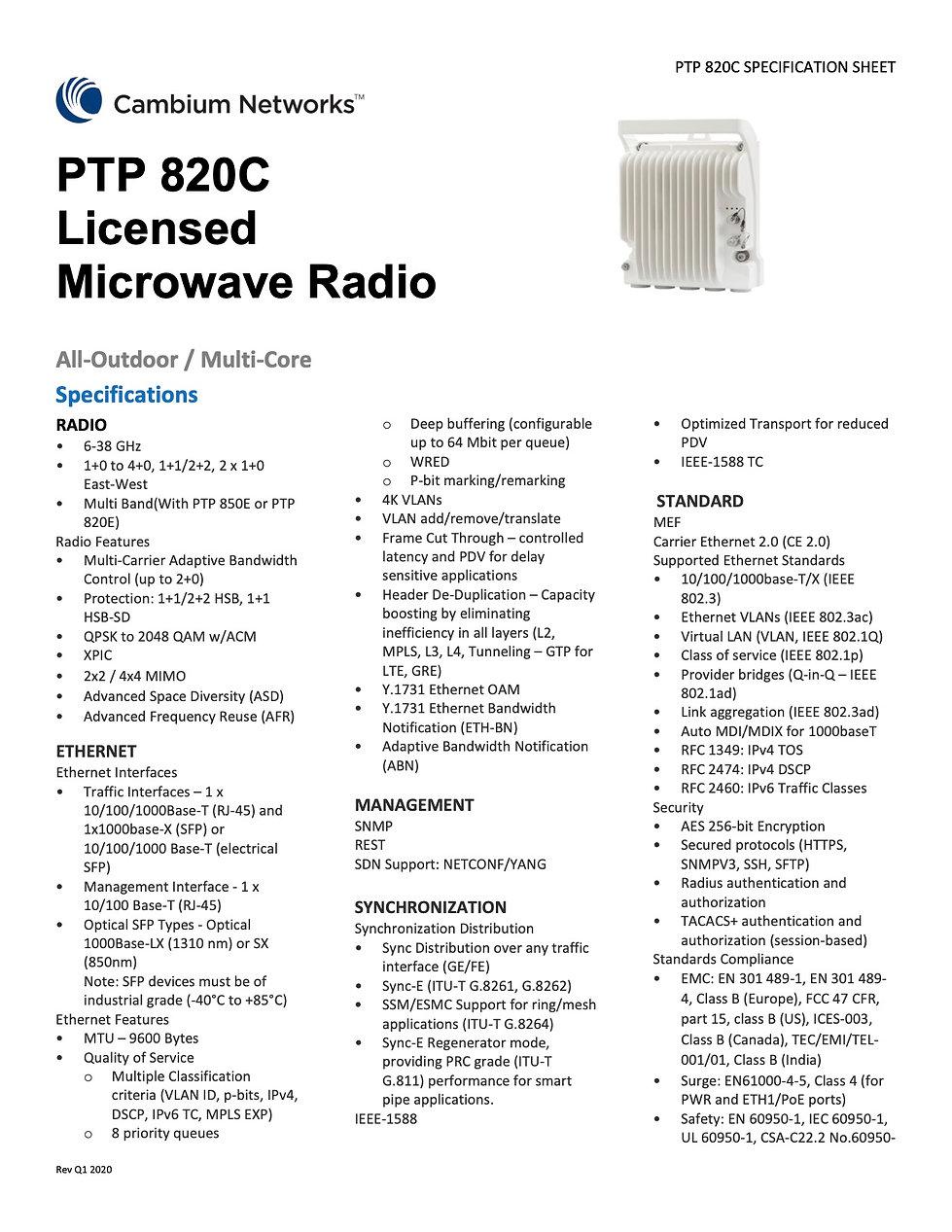 CambiumPTP 820C Specification