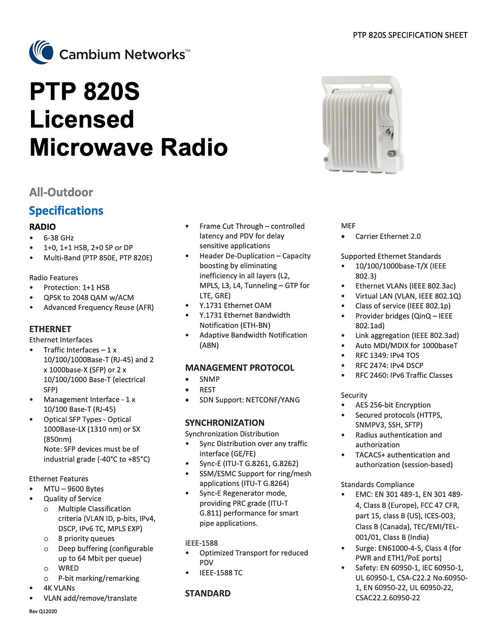 Cambium PTP 820SSpecification