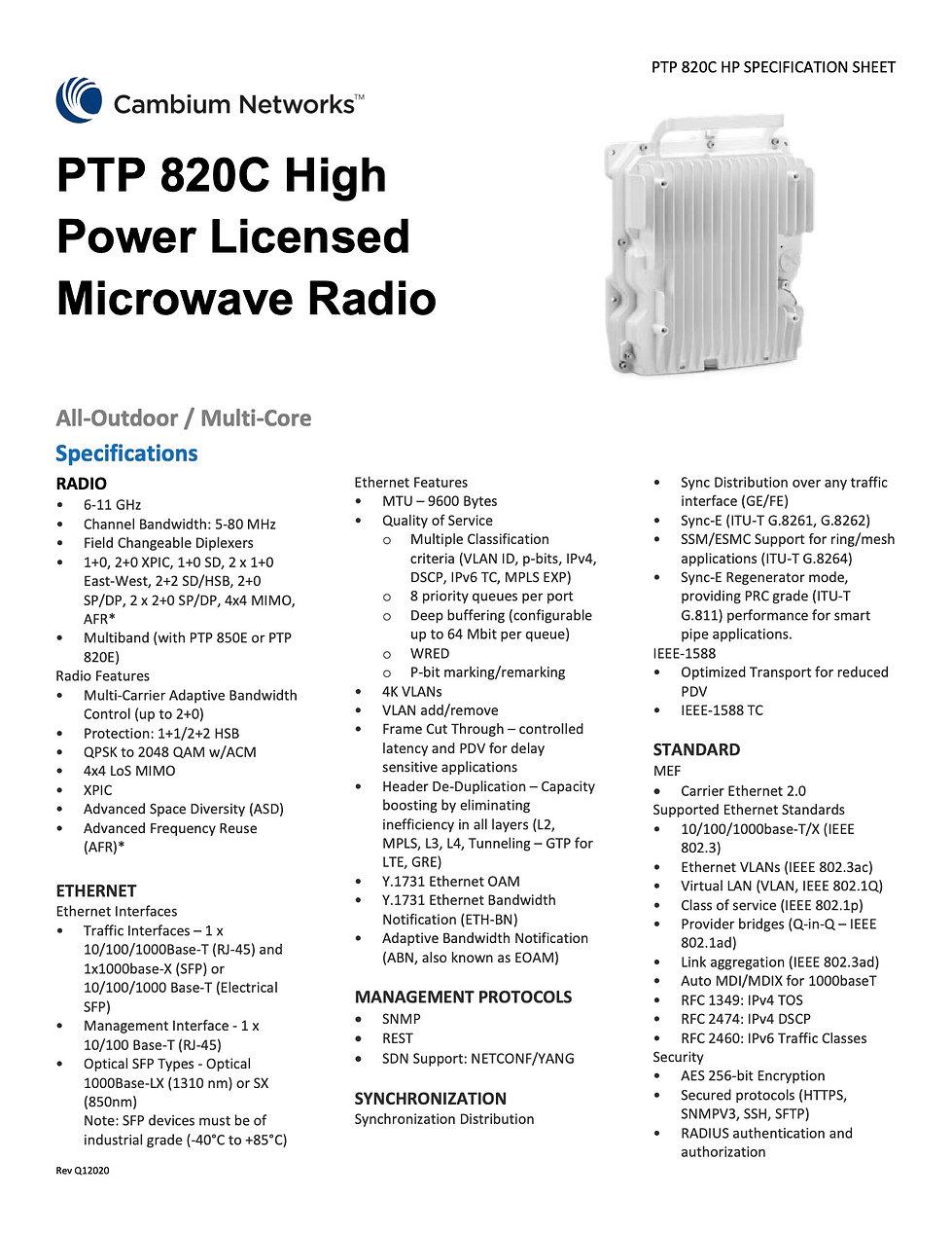 Cambium PTP 820C HP Specification