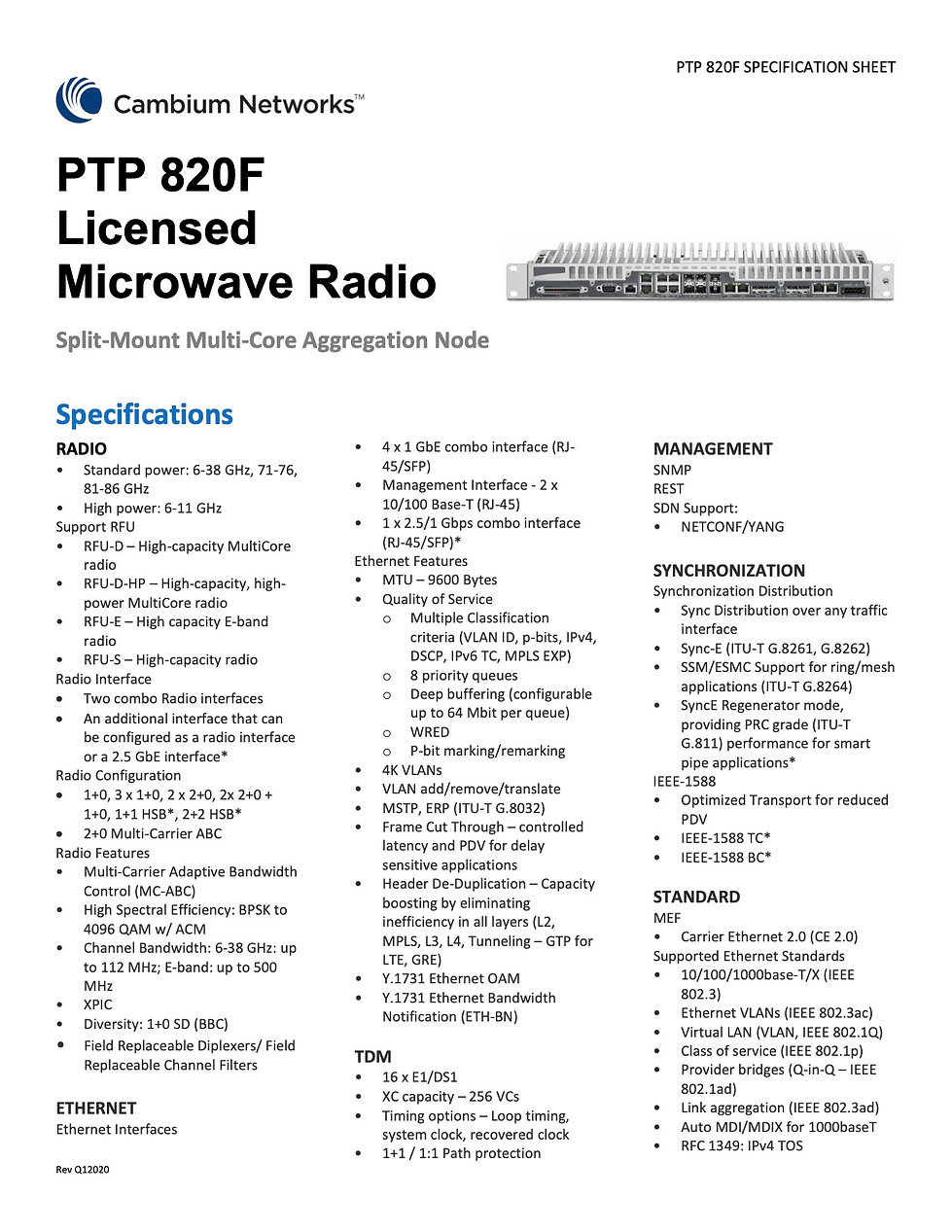 Cambium​​ PTP 820F Specification