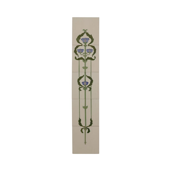 Set of 10 Blue Flowers with Swags Tiles | Carron