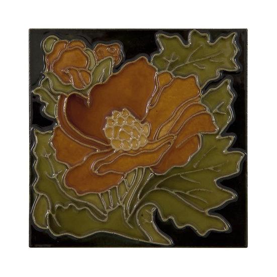 Set of 10 Rust Flower on Black Tiles | Carron