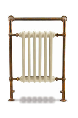 Broughton Steel Towel Rail in Copper with Victorian Cast Iron Sections | Carron