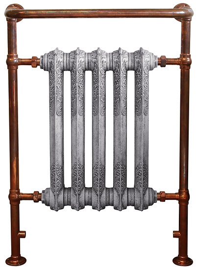Carron Wilsford Copper Towel Rail with Rococo Cast Iron Radiator sections | Dual Fuel | Foundry Cast Iron Radiators and Baths