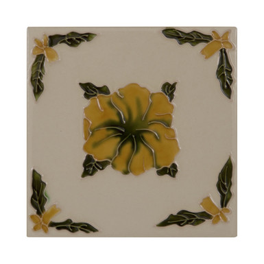 Set of 10 Orange Flowers on Cream Tiles   Carron