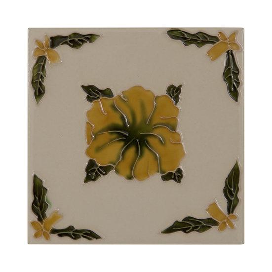 Set of 10 Orange Flowers on Cream Tiles | Carron