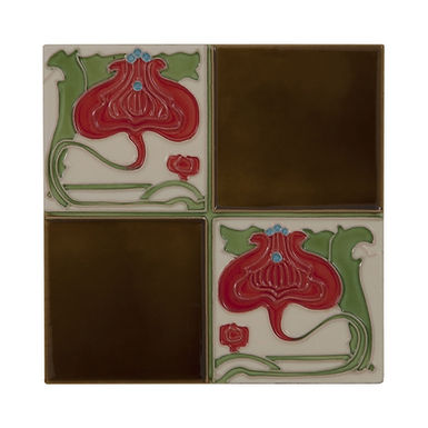 Set of 10 Quarter Burgundy Flower Brown Quad Tiles | Carron