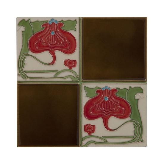 Set of 10 Quarter Burgundy Flower Brown Quad Tiles | Carron
