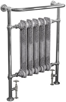 Wilsford Steel Towel Rail in Chrome with Rococo Cast Iron Sections | Carron