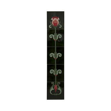 Set of 10 Red/White Tulip on Green Tiles   Carron