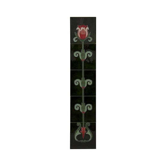 Red White Tulip Green Tiles