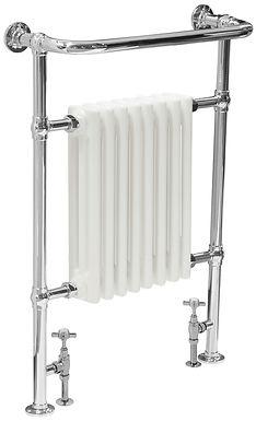 Welbourne Steel Towel Rail in Chrome  with White Radiator   Carron