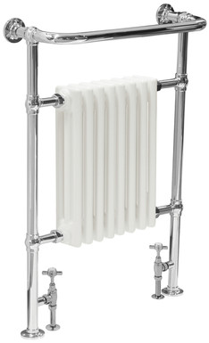 Welbourne Steel Towel Rail in Chrome  with White Radiator | Carron
