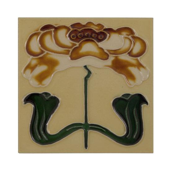 Set of 10 Tan Flower Tiles | Carron