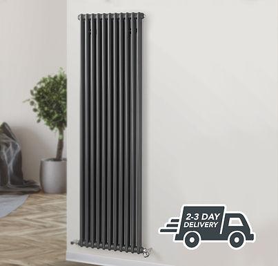 Fitzrovia 2 Column Steel Radiator Vertical | Anthracite | Foundry