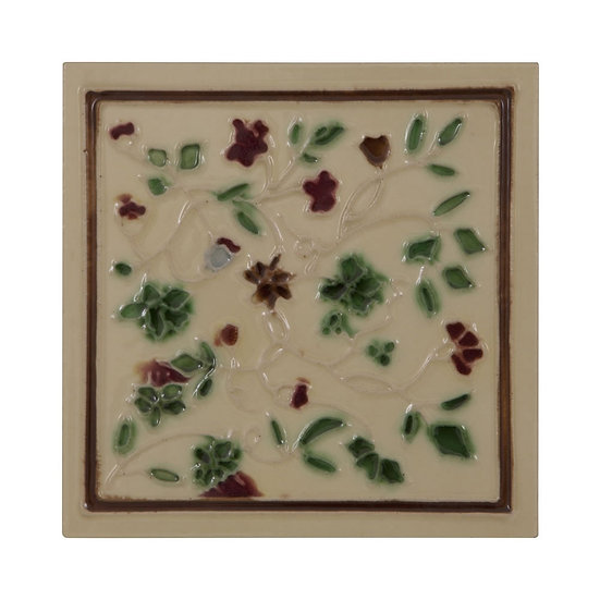 Set of 10 Red/Green on Cream Tiles | Carron