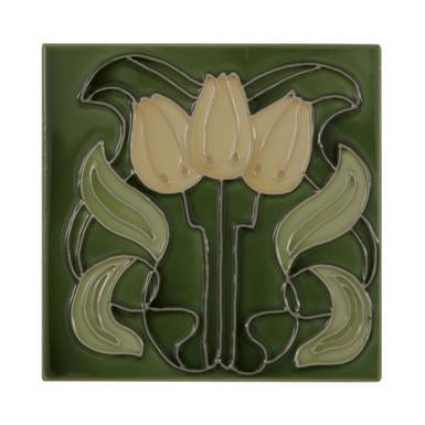 Set of 10 Three Yellow Flowers on Green Tiles | Carron
