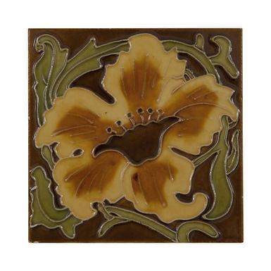 Set of 10 Yellow Flower Tiles   Carron