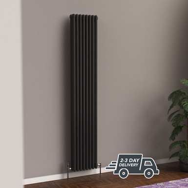Fitzrovia 3 Column Steel Radiator Vertical | Anthracite | Foundry