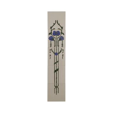 Set of 10 Blue Flowers on Bone Tiles | Carron