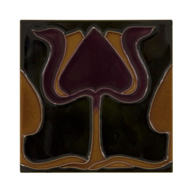 Set of 10 Burgundy Orange Tulip Green Tiles | Carron