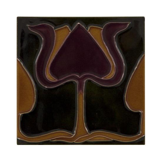 Set of 10 Burgundy Orange Tulip Green Tiles   Carron