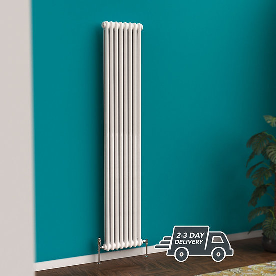Fitzrovia vertical 2 Column Steel Radiator Vertical hanging | White | Foundry