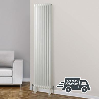 Fitzrovia 3 Column Steel Radiator Vertical | White | Foundry