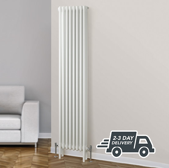 Fitzrovia vertical 3 Column Steel Radiator Vertical context | White | Foundry
